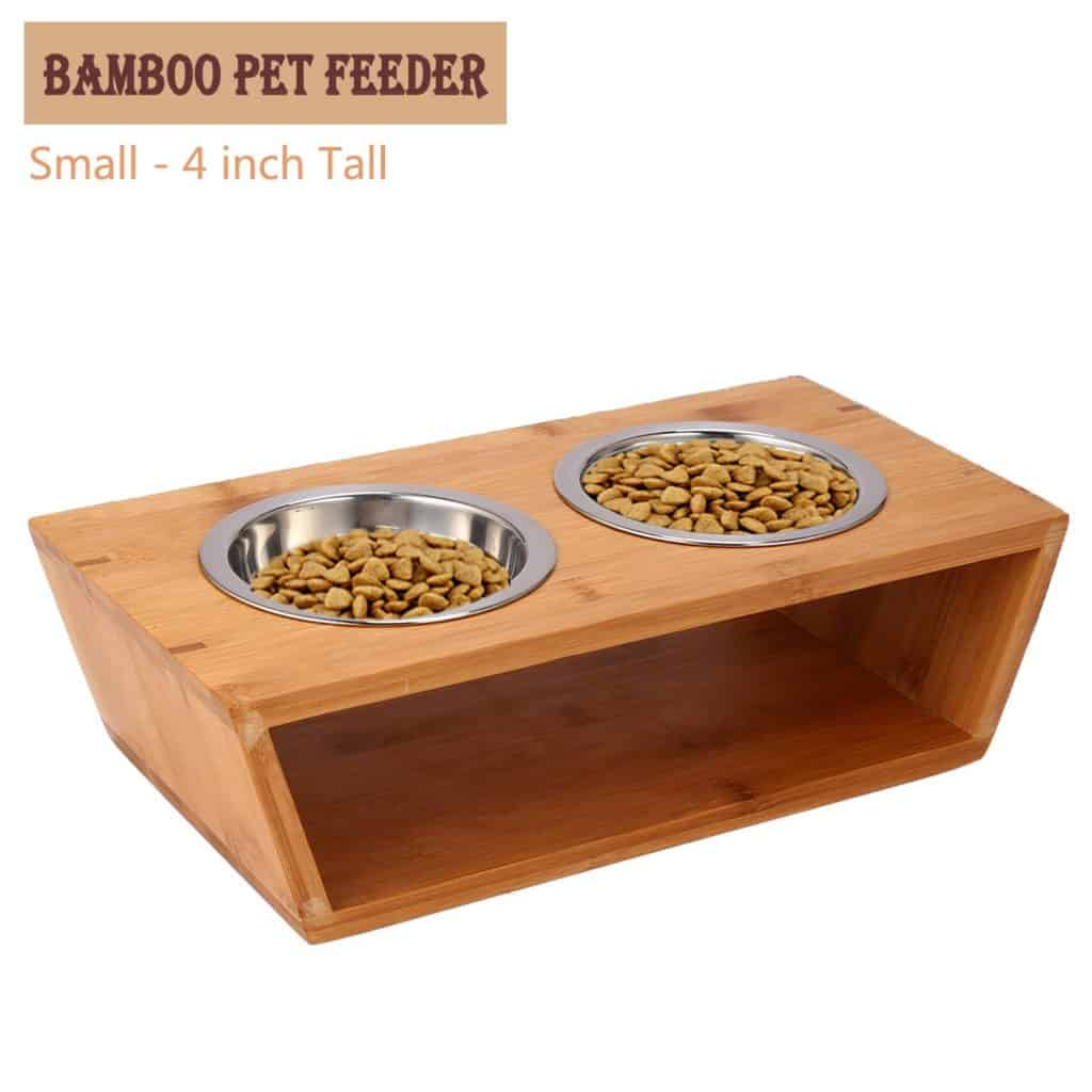 Elevated Dog and Cat Bamboo Pet Feeder with Extra Two Stainless Steel Bowls by Chirde