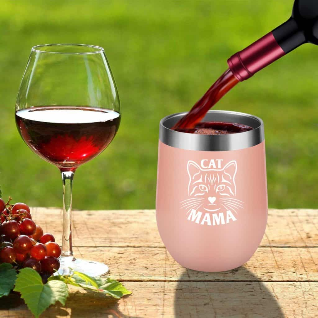 Cat Mama 12 oz Stainless Steel Insulated Wine Tumbler by LEADO