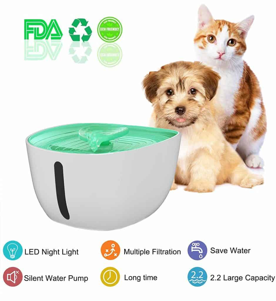 Water Fountain Automatic Pet Filtered Water Dispenser with LED by Fettish