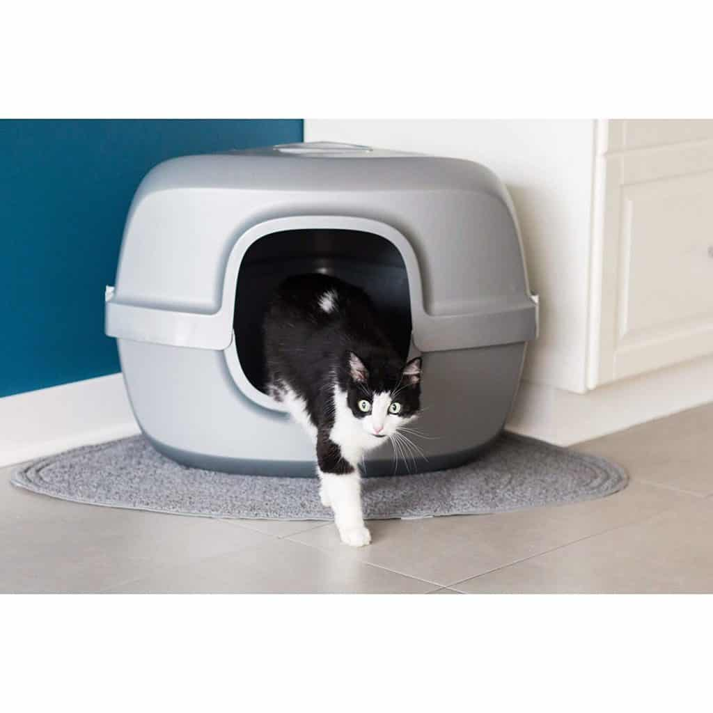 Enclosed Silver Grey Cat Litter Box with Lid by MISC